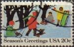 Sellos de America - Estados Unidos -  USA 1982 Scott 2027 Sello Christmas Navidad niños Jugando en la Nieve Season's Greetings usado