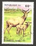 Sellos de Africa - República del Congo -  fauna, damaliscus lunatus