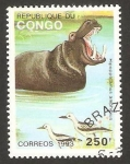 Stamps Africa - Republic of the Congo -  fauna, hipopótamo