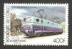 Stamps : Africa : Republic_of_the_Congo :  locomotora eléctrica, francés