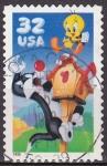 Sellos de Europa - Estados Unidos -  USA 1998 Scott3204 Sello Warner Bros Piolin y Silvestre usado 32c