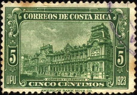 Correos y Telégrafos de Costa Rica. UPU 1923