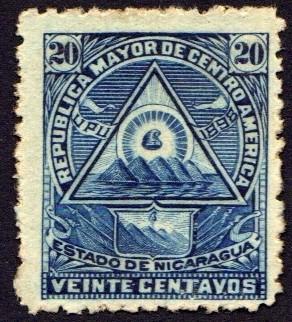Escudo antiguo de Nicaragua. UPU 1898