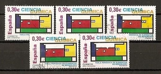 Ciencia./ Ficha con cinco sellos.