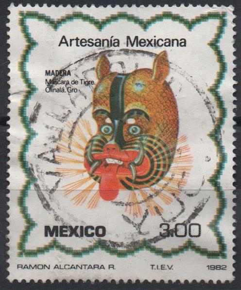 Sello Artesania Mexicana Mascara De Tigre Elaborada En Madera 3 P