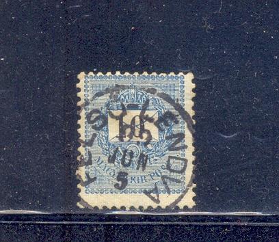 Hungría año 1898 - Carta y Corona Real 10 k azul