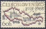 Sellos del Mundo : Europa : Checoslovaquia : mapa pais 1918-1968