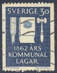 Sellos del Mundo : Europa : Suecia : 1862  Ars Kommunal Lagar