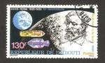Sellos del Mundo : Africa : Djibouti : julio verne, de la tierra a la luna