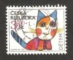 Sellos del Mundo : Europa : República_Checa : caricatura de un gato