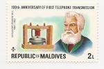 Sellos de Asia - Maldivas -  100° Aniversario de la Primera transmisión telefónica