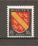 Sellos de Europa - Francia -  Escudos./ Alsacia./ Color rojo muy desplazado.