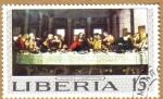 Sellos del Mundo : Africa : Liberia : Leonardo Da Vinci-Last Supper