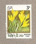 Sellos de Asia - Laos -  Flor Crocus aureus