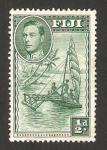 Sellos del Mundo : Oceania : Fiji : George VI, y barco a vela