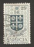 Sellos del Mundo : America : Santa_Lucía : escudo de armas, monograma EIIR