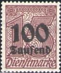 Sellos del Mundo : Europa : Alemania : Deutsches Reich 1923 Scott O31 Sello Nuevo * Cifras 15 Sobreimpresion 100 Saufend