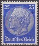 Sellos de Europa - Alemania -  Deutsches Reich 1933 Scott 425 Sello 85 Cumpleaños de Von Hindenburg 25 Usado Michel522 Alemania