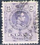 Sellos del Mundo : Europa : España : ESPAÑA 1909-22 270 Sello Alfonso XIII 15c Tipo Medallón Usado con numero de control al dorso Espana
