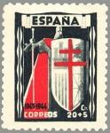 Sellos de Europa - España -  PRO TUBERCULOSOS.CRUZ DE LORENA EN rojo