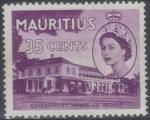 Sellos del Mundo : Africa : Mauricio : MAURICIO 1953 (S259) Coronacion - Casa Gobierno Le Reduit 35c