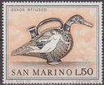 Sellos del Mundo : Europa : San_Marino : SAN MARINO 1971 Scott 754 Sello Nuevo Arte Etrusco Askos Jarra con forma de Pato 50L