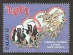 Sellos del Mundo : Oceania : Palau : tambor, flor y sweethearts