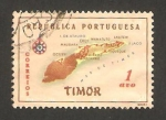 Sellos del Mundo : Asia : Timor_oriental : Mapa de la isla