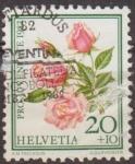 Sellos de Europa - Suiza -  Suiza 1982 Scott B493 Sello Flores Rosas Michel1237 usado Switzerland Suisse