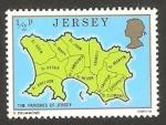 Sellos del Mundo : Europa : Isla_de_Jersey : 125 - Mapa de las 12 regiones de Jersey