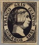 Sellos del Mundo : Europa : España : ESPAÑA 1851 6 Sello Isabel II 4c
