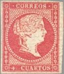 Sellos del Mundo : Europa : España : ESPAÑA 1856 44 Sello Isabel II 4 cuartos