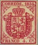 Sellos del Mundo : Europa : España : ESPAÑA 1854 33 Sello Nuevo Escudo de España Sin dentar 4c Carmin Papel delgado