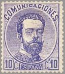 Sellos del Mundo : Europa : España : ESPAÑA 1872 121A Sello Nuevo Corona Real Cifras y Amadeo I 10cu Ultramar