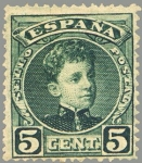 Sellos de Europa - España -  ESPAÑA 1901-5 242 Sello Nuevo Alfonso XIII 5c Tipo Cadete Verde Numero de control al dorso