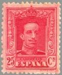 Sellos del Mundo : Europa : España : ESPAÑA 1922 317A Sello Nuevo Alfonso XIII Tipo Vaquer Tipo II 25c Rojo nº control al dorso