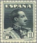 Sellos de Europa - España -  ESPAÑA 1922 321 Sello Nuevo Alfonso XIII Tipo Vaquer 1p Pizarra nº control al dorso