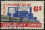 Sellos de America - Uruguay -  100 años de los ferrocarriles uruguayos.