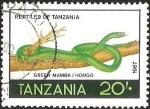 Sellos de Africa - Tanzania -  REPTILES OF TANZANIA - GREEN MAMBA / HONGO