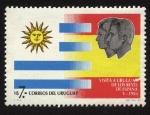 Sellos del Mundo : America : Uruguay : Banderas de Uruguay y España. Visita al Uruguay de los Reyes de España en mayo de 1983.