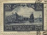Sellos del Mundo : America : Uruguay : 100 años de la declaratoria de la Independencia del Uruguay. Paisaje de Montevideo antiguo visto des