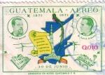 Sellos del Mundo : America : Guatemala : J. Rufino B, M Garcia G y mapa de G