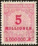 Sellos del Mundo : Europa : Alemania : DEUTSCHES REICH - IMPERIO ALEMAN - 5 MILLIONEN