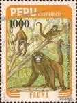 Sellos del Mundo : America : Perú : Mono Choro de Cola Amarilla (Lagothrix Flavicauda).