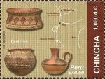Sellos del Mundo : America : Perú : Cultura Chincha, (1,000dc.). Cerámica y Mapa.