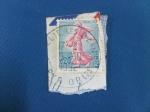 Sellos de Europa - Francia -  SEMBRADORA - Semeuse de piel (Tipo I) Sower of piel -Serie Semeuse lined background.