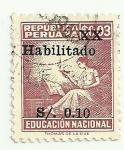 Sellos de America - Perú -  Sello pro- educación habilitado con sobrecarga