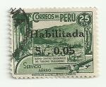 Sellos de America - Perú -  Tarma- centro ceográfico del turismo transandino (sello de 1938 con sobrecarga negra)