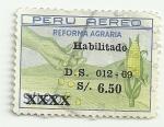Sellos de America - Perú -  Reforma agraria - Habilitados