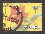 Sellos de Asia - Malasia -  flor hibiscus rosa sinensis